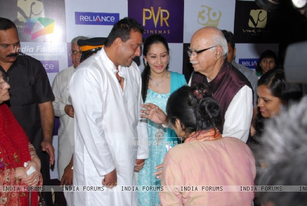 Sanjay Dutt, Manyata Dutt and LK Advani at premiere of film Parinda at PVR