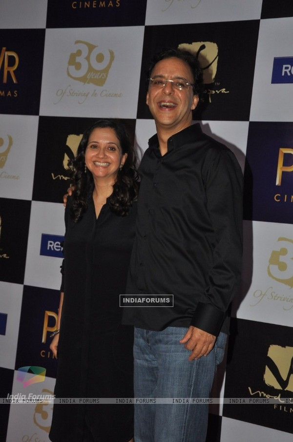 Vidhu Vinod Chopra with wife Anupama Chopra at premiere of film Parinda at PVR