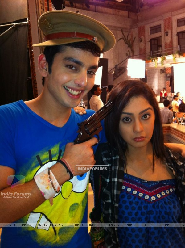 Himansh Kohli and Abigail Jain behind the scenes