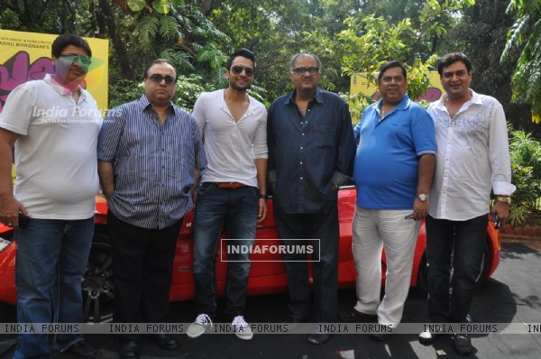 "David Dhawan, Boney Kapoor, Jackky Bhagnani, Vashu Bhagnani during the Mahurat of ""Ajab Gazabb Love"""