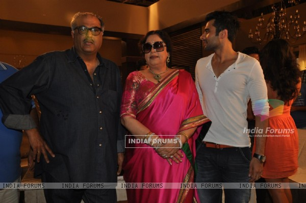 "Jackky Bhagnani, Kirron Kher and Boney Kapoor during the Mahurat of Movie ""Ajab Gazabb Love"""