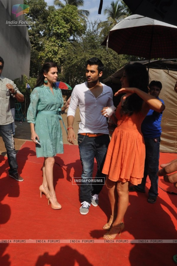"Dia Mirza, Jackky Bhagnani and Nidhi Subbaiah during the Mahurat of Movie ""Ajab Gazabb Love"""
