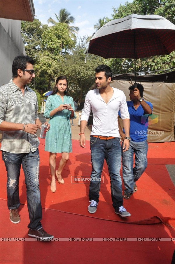 Sahil Sangha, Jackky Bhagnani and Dia Mirza during the Mahurat of Movie �Ajab Gazabb Love�