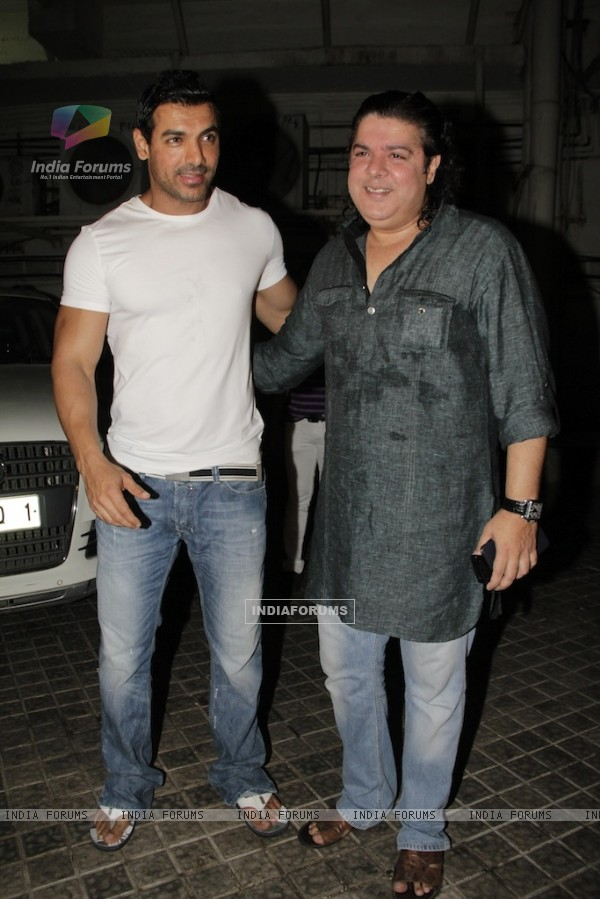 John Abraham and Sajid Khan at Vicky Donor special screening hosted by John Abraham at PVR