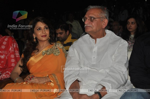 Gulzar and Madhuri Dixit at Launch of Bhupinder-Mitali Singh-Gulzar's album 'Aksar'