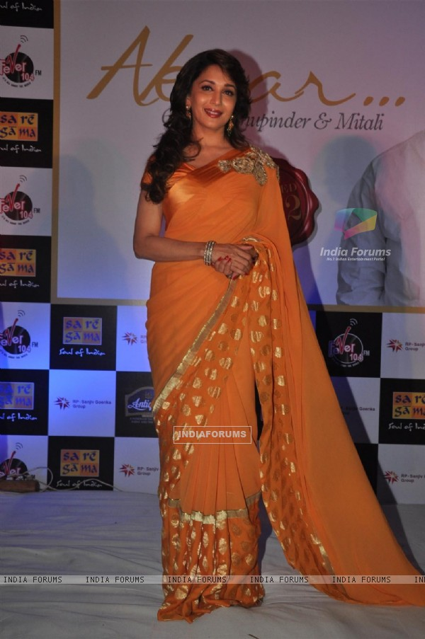 Madhuri Dixit at Launch of Bhupinder-Mitali Singh-Gulzar's album 'Aksar'