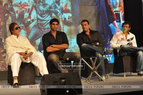 Amitabh Bachchan, Rana Daggubati, Sanjay Dutt and Ram Gopal Verma at 'Department' film press meet
