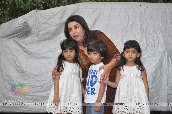 Farah Khan with kids at Shilpa Shetty Baby Shower function