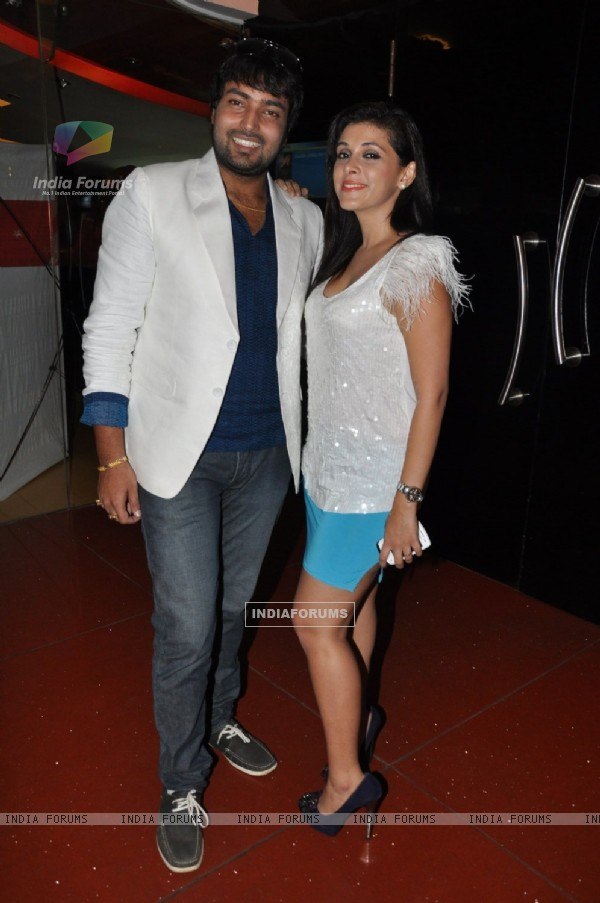 Maanas Srivastava and Mansi Dovhal at Film Rakhtbeej music launch at Cinemax in Mumbai on Monday