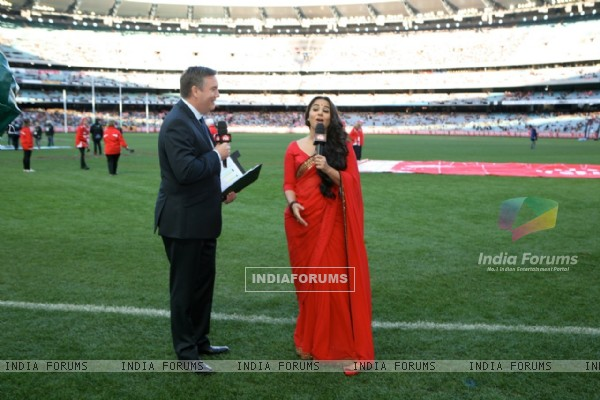 Vidya Balan with Eddie McGuire at the Melbourne Cricket Ground