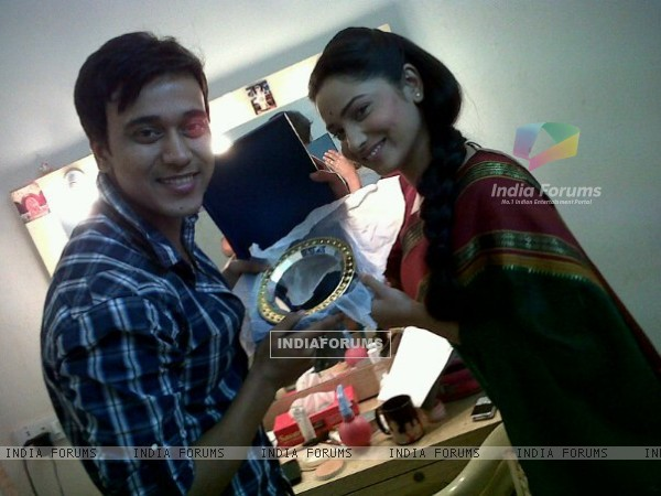 Ankita Lokhande and Anurag Sharma On Set