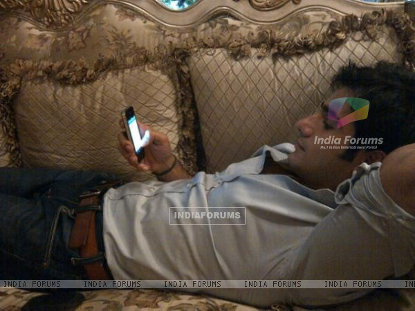 Karan Tacker on phone