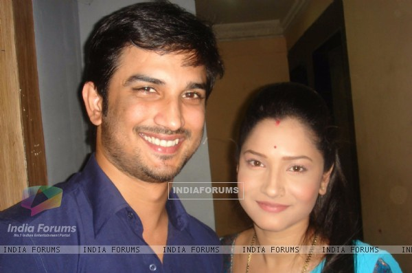 Sushant Singh Rajput and Ankita Lokhande On Set