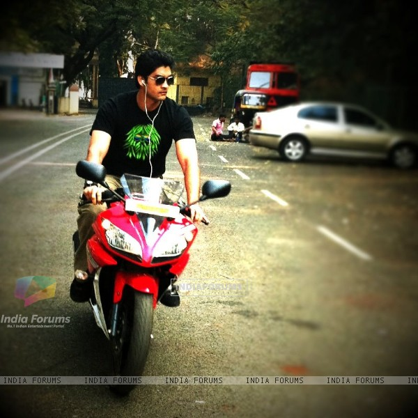 Aditya Redij on bike
