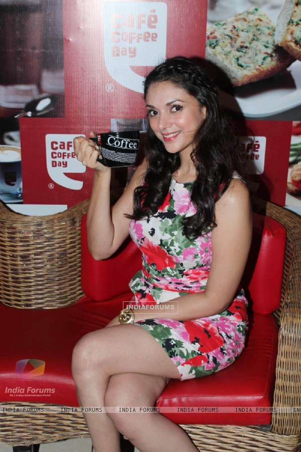Bollywood actress Aditi Rao Hyadari at Cafe Coffee Day at Cuffe Parade