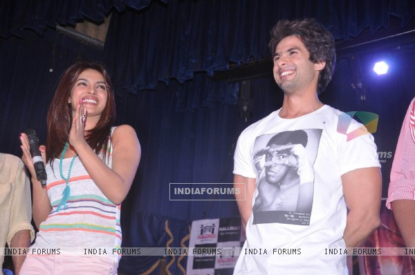 Bollywood actor Shahid Kapoor and  actress Priyanka Chopra visit Jaihind College at Churchgate