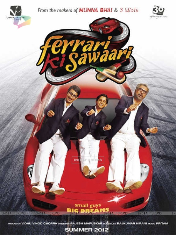 Sharman Joshi, Ritvik Sahore and Boman Irani in Ferrari Ki Sawaari