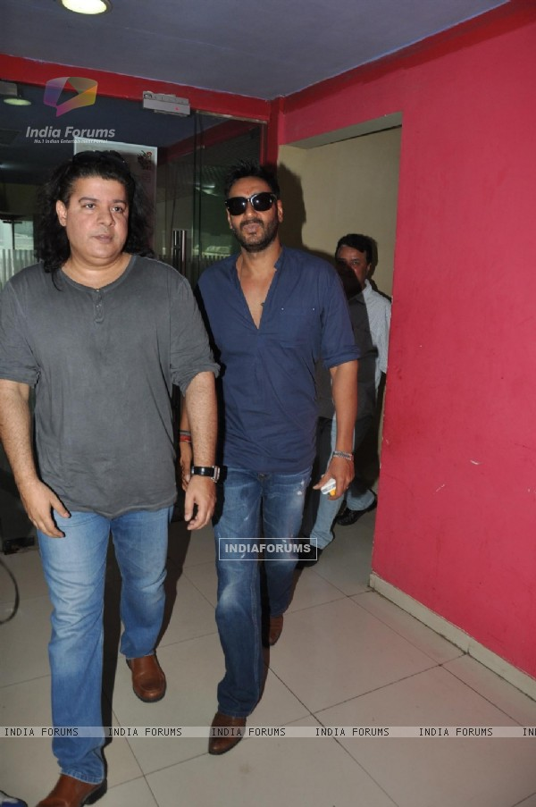 Sajid Khan and Ajay Devgn at Song Recording of Film Himmatwala - 2