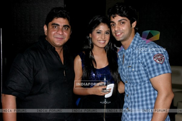 Rajan Shahi and Kritika Kamra with Karan Wahi at Karan Wahi Birthday Bash
