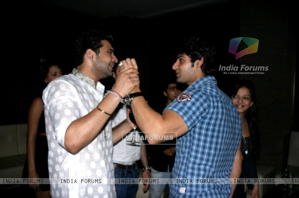 Karan Kundra with Karan Wahi at Karan Wahi Birthday Party
