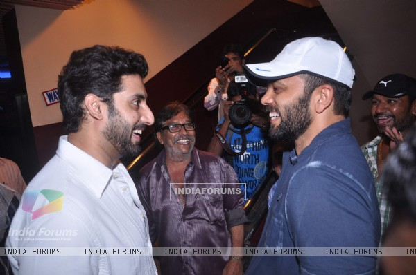 Bollywood actor Abhishek Bachchan and director Rohit Shetty at the promotional event of