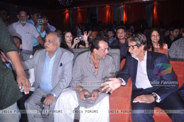 Bollywood actors Sanjay Dutt and Amitabh Bachchan at Blockbuster magazine launch in Novotel, Mumbai. .