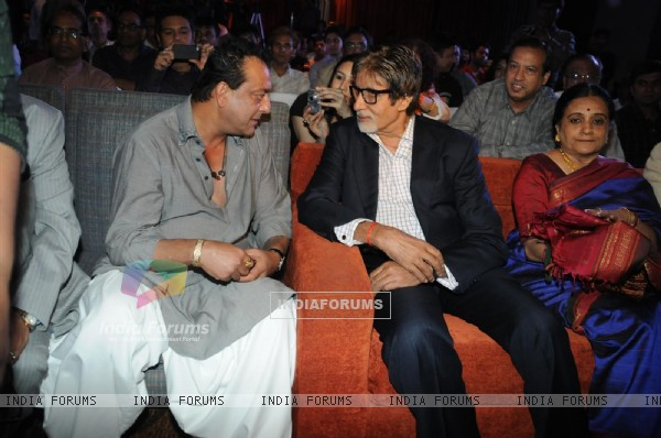 Sanjay Dutt, Amitabh Bachchan and Bhawana Somaaya at Launch of magazine 'Blockbuster'
