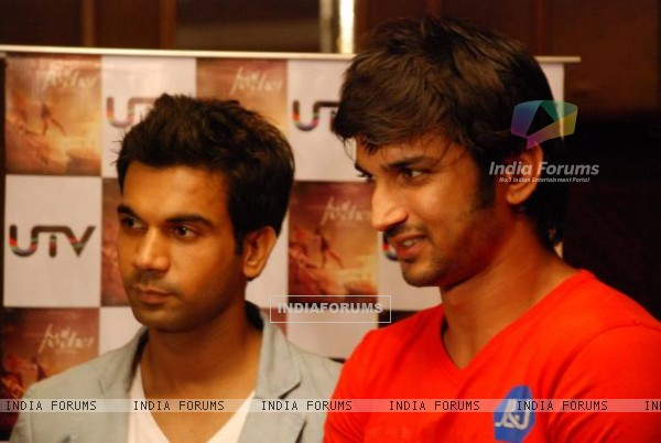 Sushant Singh Rajput and Raj Kumar Yadav At The Press Conference Of Kai Po Che In Delhi