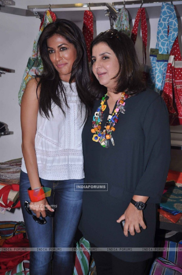 Choreographer-director Farah Khan with Bollywood actress Chitrangada Singh promoting Joker with Aliens, Mumbai India. .