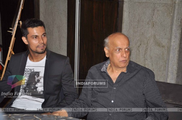 Bollywood actor Randeep Hooda with Producer-director Mahesh Bhatt at Jism 2 Press Conference, Grand Hyatt Mumbai India. .