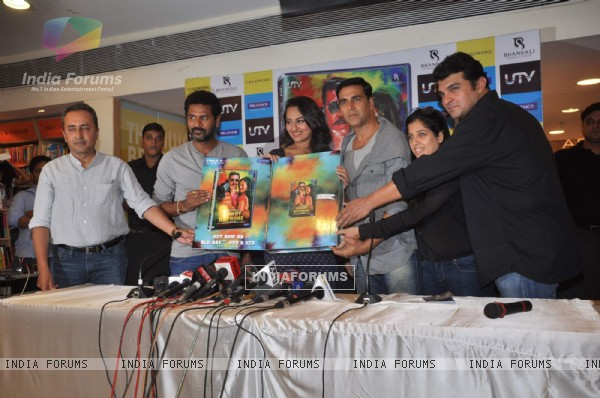 Bollywood actors Akshay Kumar, Sonakshi Sinha and Prabhu Deva at  the Rowdy Rathore Dvd launch in Mumbai. .