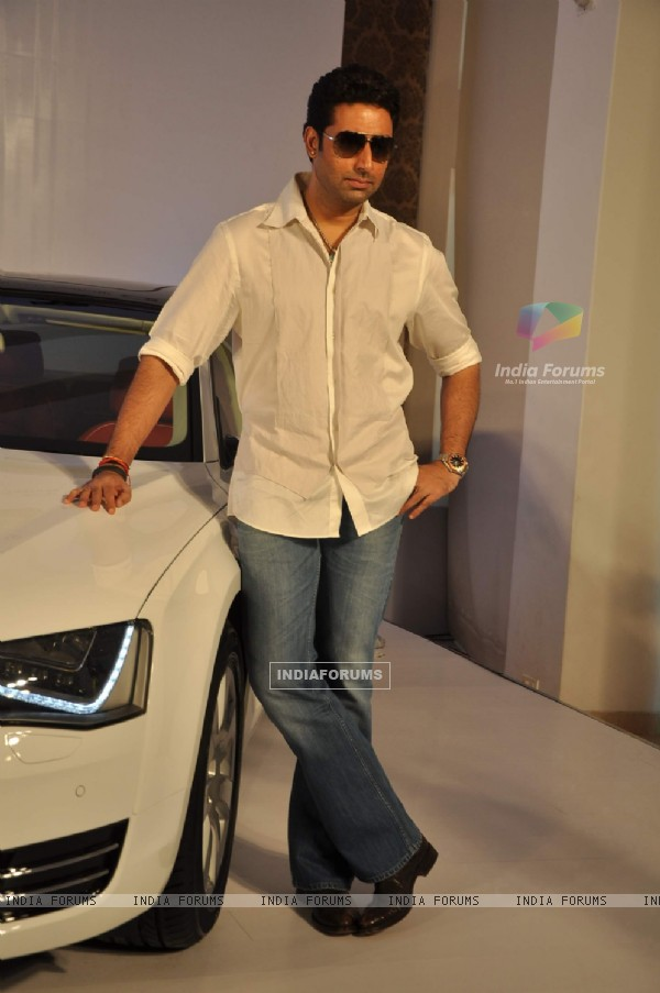 Bollywood actor Abhishek Bachchan Audi A8 German luxury car launched in Mumbai .