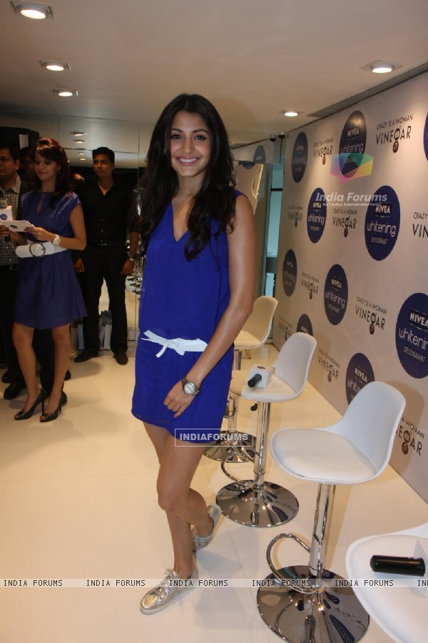 Anushka Sharma gestures during the launch of Nivea�s Go Sleeveless Campaign in Mumbai