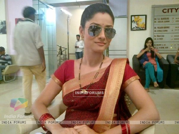 Ankita Lokhande During Shooting For Pavitra Rishta