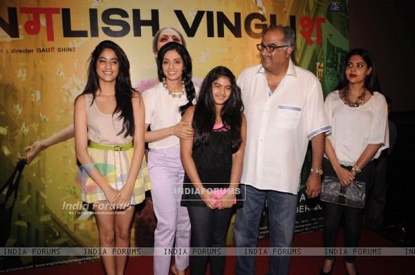 Bollywood actress Sridevi and her family at first look launch of film English Vinglish at PVR in Mumbai..