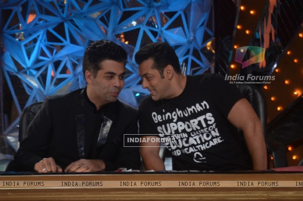 Salman Khan and Karan Johar on the sets of Jhalak Dikhhla Jaa