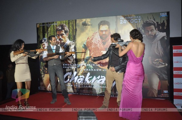 Bollywood actors Arjun Rampal and Abhay Deol at the launch of Prakash Jha's 'Chakravyuh' in Cinemax, Mumbai. .