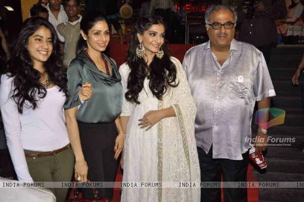 Sridevi with Sonam Kapoor and Boney Kapoor at 'Shirin Farhad Ki Toh Nikal Padi' special screening
