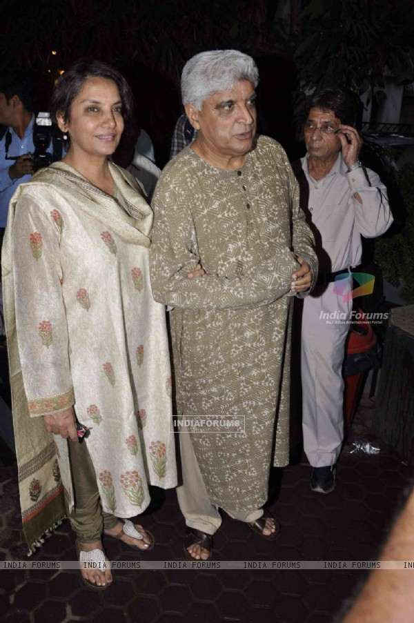 Javed Akhtar, Shabana Azmi and Javed Khan at attended the prayer meet for Shri.AK Hangal