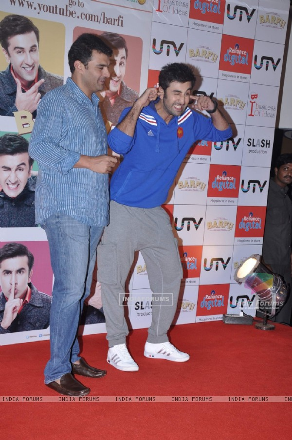 Bollywood actor Ranbir Kapoor and UTV CEO, Siddharth Roy Kapoor at the launch of the interactive application for the upcoming film 'Barfi!' on YouTube at Malad in Mumbai. .