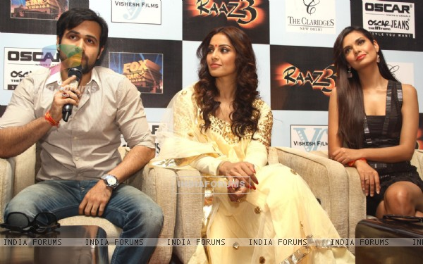 Bollywood actors Emraan Hashmi, Bipasha Basu and Esha Gupta at a press meet for the film Raaz-3 in New Delhi .