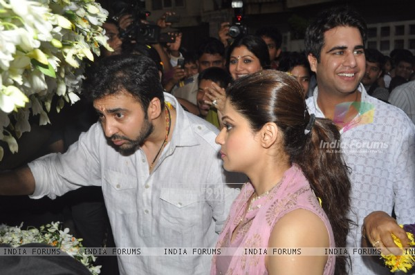 Raj Kundra and Shamita Shetty at Shilpa Shetty's Ganpati Visarjan