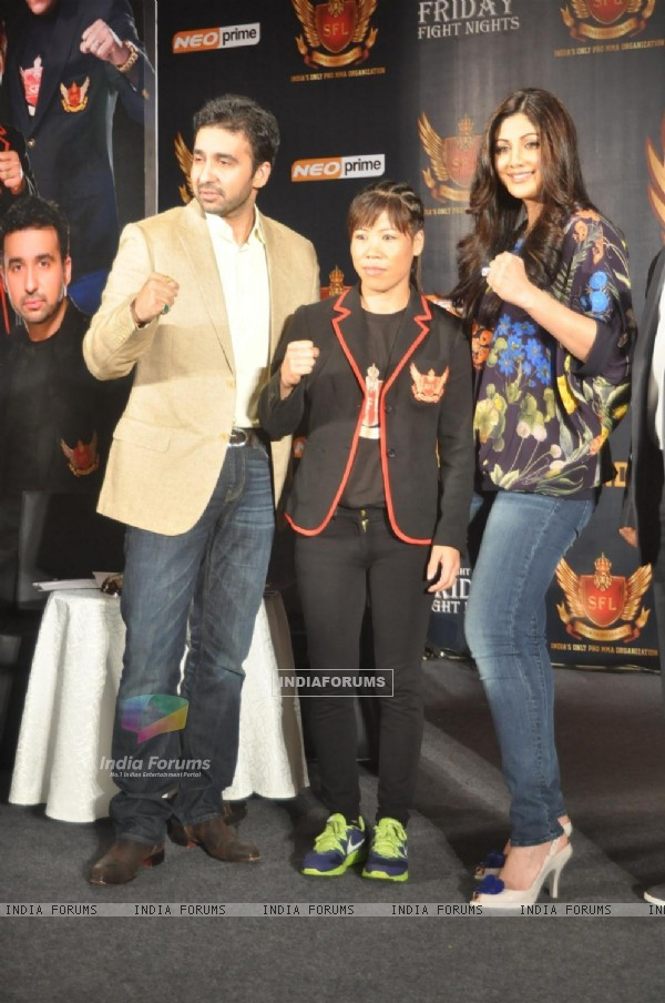 Raj Kundra, Mary Kom and Shilpa Shetty At Sfl Press Meet