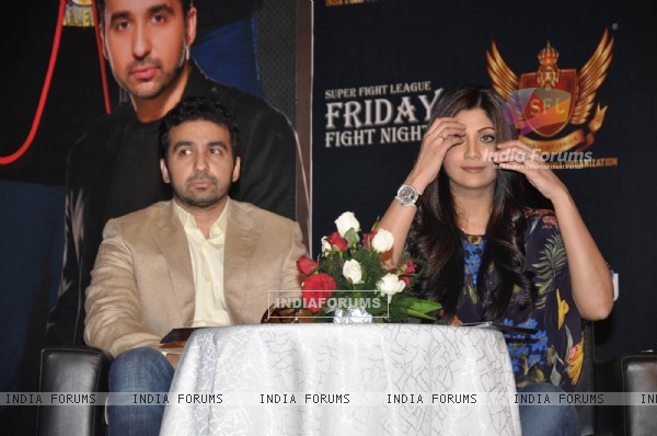 Shilpa Shetty with her husband Raj Kundra at SFL press meet