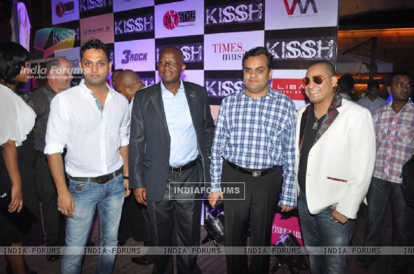 International music composed and singer Kissh and Pule Isaac Malefane with celebs during the launch of his debate music album LADY at ky Lounge in Juhu in Mumbai.