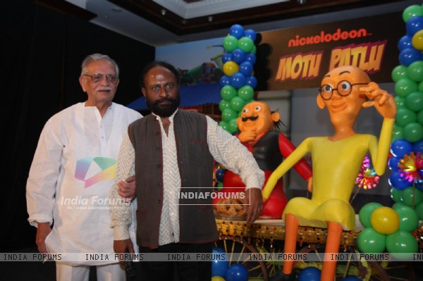 Gulzar and Ketan Mehta at the launch of the new Nickelodeon show �Motu Patlu�, at Hotel Taj Lands End, in Mumbai