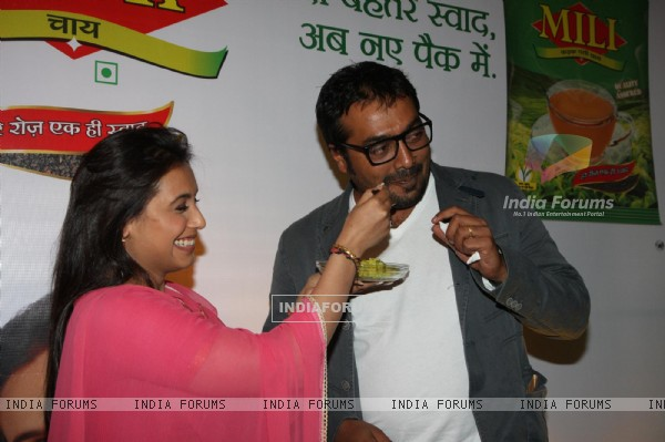 Bollywood actress Rani Mukherji with Director Anurag Kashyap promoting Aiyyaa with Chaha Poha (Tea and Maharashtrian Snack Poha) at Wagh Bakri Tea Lounge in Mumbai.