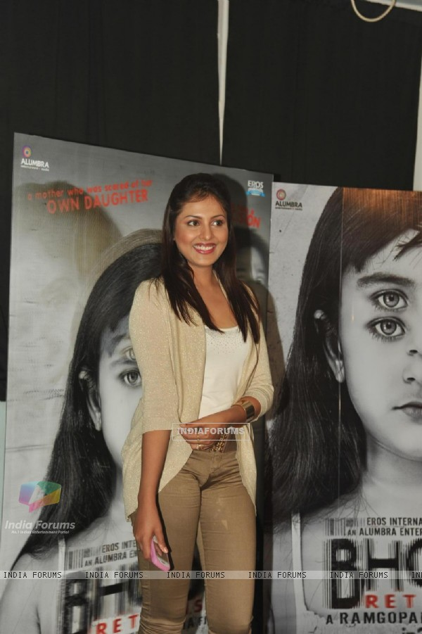 Bollywood actress Madhu Shalini at film BHOOT Returns press conference at Mehboob Studios in Bandra, Mumbai.