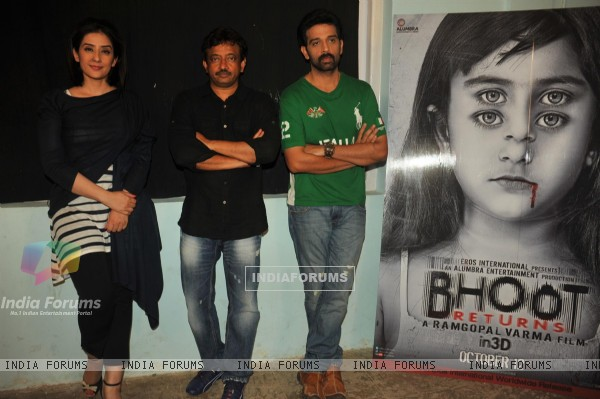 Bollywood celebrities Manisha Koirala, Ram Gopal Varma and J D Chakravarthy at film BHOOT Returns press conference at Mehboob Studios in Bandra, Mumbai.