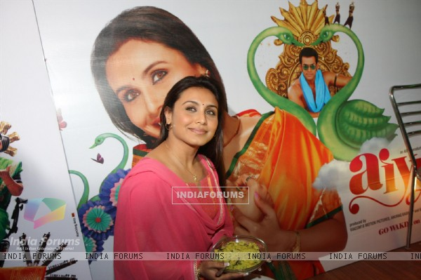 Bollywood actress Rani Mukherji promoting Aiyyaa with Chaha Poha (Tea and Maharashtrian Snack Poha) at Wagh Bakri Tea Lounge in Mumbai.